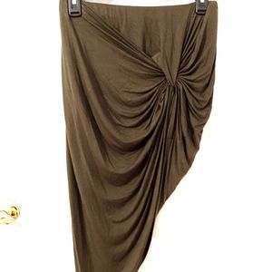 Charlotte Russe dark green high low wrap skirt